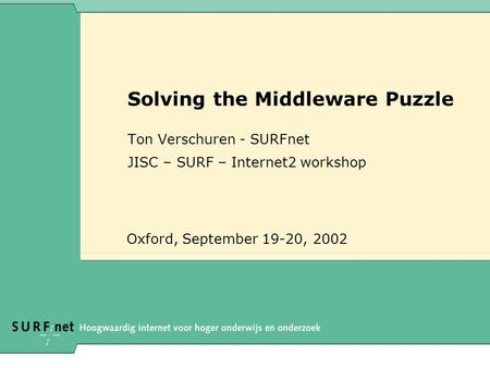 Solving the Middleware Puzzle Ton Verschuren - SURFnet JISC – SURF – Internet2 workshop Oxford, September 19-20, 2002.