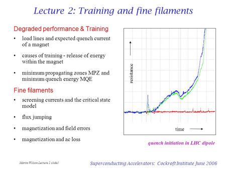 Martin Wilson Lecture 2 slide1 Superconducting Accelerators: Cockroft Institute June 2006 Lecture 2: Training and fine filaments Degraded performance &