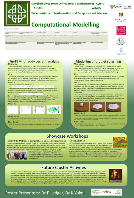Sefydliad Gwyddorau Cyfrifiadurol a Mathemategol Cymru SGCMC WIMCS Wales Institute of Mathematical and Computational Sciences Computational Modelling Research.