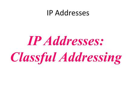 IP Addresses: Classful Addressing IP Addresses. CONTENTS INTRODUCTION CLASSFUL ADDRESSING Different Network Classes Subnetting Classless Addressing Supernetting.