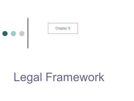 Legal Framework Chapter 5. Learning outcomes Explain difference between patent and copyright Computer Miss use Act List 8 principles of Data protection.