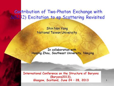11 Contribution of Two-Photon Exchange with Excitation to ep Scattering Revisited Shin Nan Yang National Taiwan University Contribution of Two-Photon Exchange.