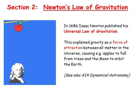 Section 2: Newtons Law of Gravitation In 1686 Isaac Newton published his Universal Law of Gravitation. This explained gravity as a force of attraction.