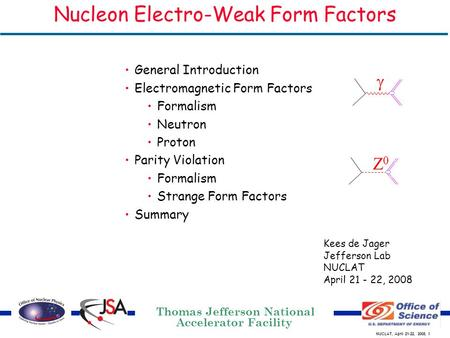 NUCLAT, April 21-22, 2008, 1 Kees de Jager Jefferson Lab NUCLAT April 21 - 22, 2008 Nucleon Electro-Weak Form Factors General Introduction Electromagnetic.