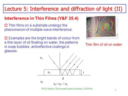 1 P1X: Optics, Waves and Lasers Lectures, 2005-06. Lecture 5: Interference and diffraction of light (II) Interference in Thin Films (Y&F 35.4) o Thin films.