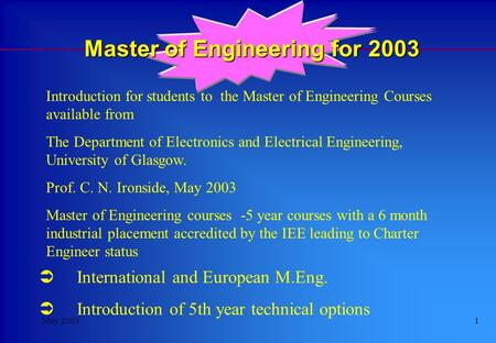 May 20031 International and European M.Eng. Introduction of 5th year technical options Master of Engineering for 2003 Introduction for students to the.