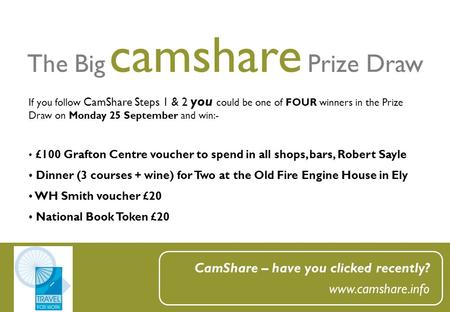 The Big camshare Prize Draw CamShare – have you clicked recently? www.camshare.info If you follow CamShare Steps 1 & 2 you could be one of FOUR winners.