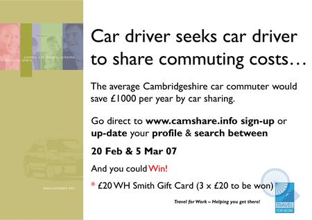 Travel for Work – Helping you get there! Car driver seeks car driver to share commuting costs… Go direct to www.camshare.info sign-up or up-date your profile.