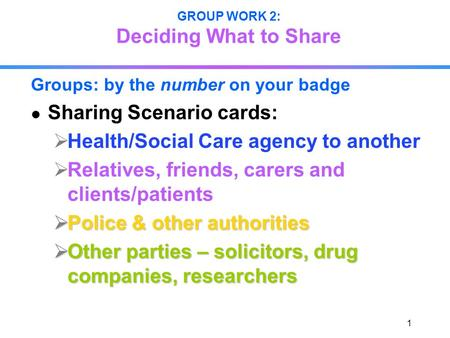 1 GROUP WORK 2: Deciding What to Share Groups: by the number on your badge Sharing Scenario cards: Health/Social Care agency to another Relatives, friends,