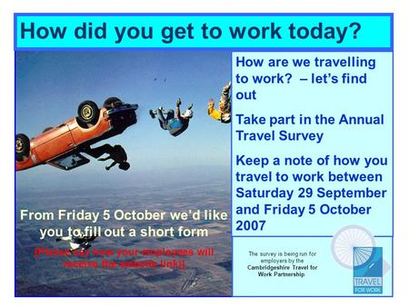 How are we travelling to work? – lets find out Take part in the Annual Travel Survey Keep a note of how you travel to work between Saturday 29 September.