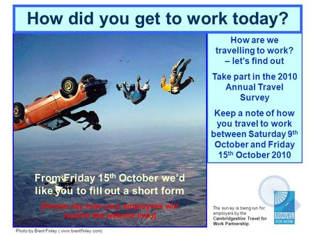 How are we travelling to work? – lets find out Take part in the 2010 Annual Travel Survey Keep a note of how you travel to work between Saturday 9 th October.