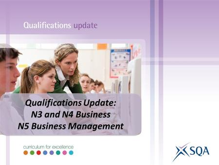 Qualifications Update: N3 and N4 Business N5 Business Management Qualifications Update: N3 and N4 Business N5 Business Management.