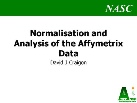 NASC Normalisation and Analysis of the Affymetrix Data David J Craigon.