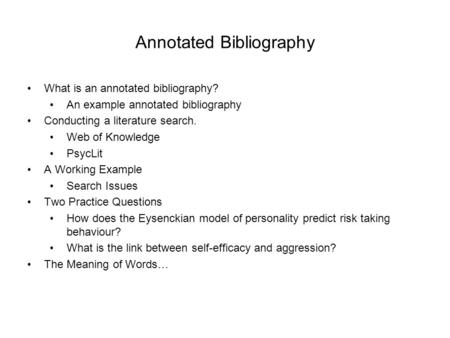 Writing an Annotated Bibliography for a Paper Scribd