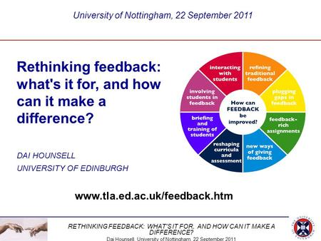 Rethinking feedback: what's it for, and how can it make a difference?