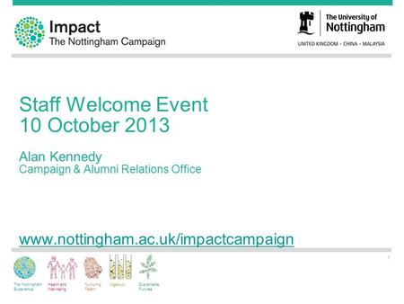 The Nottingham Experience Health and Well-being Nurturing Talent IngenuitySustainable Futures Staff Welcome Event 10 October 2013 Alan Kennedy Campaign.
