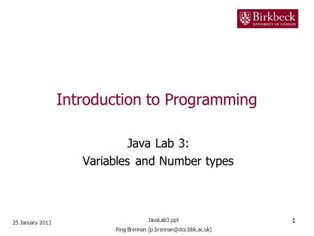 Introduction to Programming Java Lab 3: Variables and Number types 25 January 2013 1 JavaLab3.ppt Ping Brennan