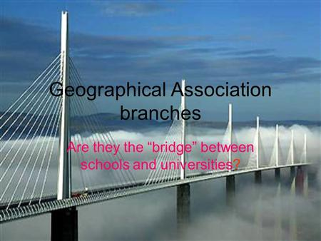 Geographical Association branches Are they the bridge between schools and universities?
