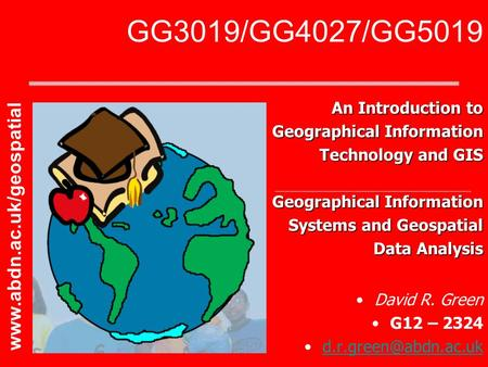 GG3019/GG4027/GG5019  An Introduction to