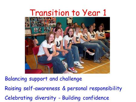 Transition to Year 1 Balancing support and challenge Raising self-awareness & personal responsibility Celebrating diversity - Building confidence.