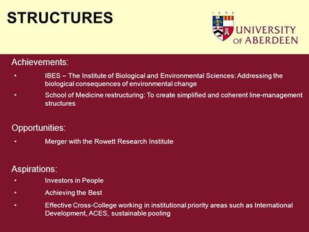 STRUCTURES Achievements: IBES – The Institute of Biological and Environmental Sciences: Addressing the biological consequences of environmental change.