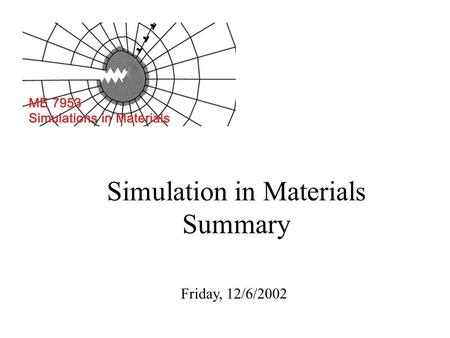 Simulation in Materials Summary Friday, 12/6/2002.