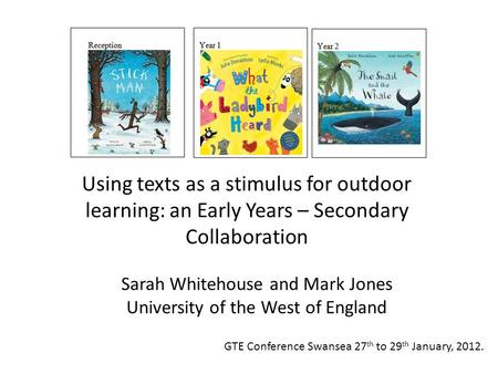 Sarah Whitehouse and Mark Jones University of the West of England Using texts as a stimulus for outdoor learning: an Early Years – Secondary Collaboration.