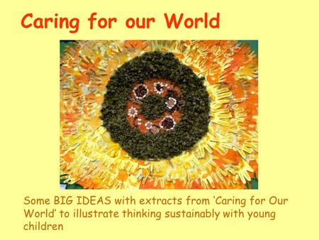 Caring for our World Some BIG IDEAS with extracts from Caring for Our World to illustrate thinking sustainably with young children.