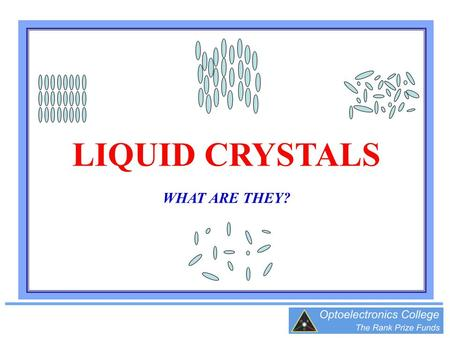 LIQUID CRYSTALS WHAT ARE THEY?. STRUCTURE OF SOLIDS, LIQUIDS AND GASES All matter is made up of miniscule particles called molecules In a pure material.