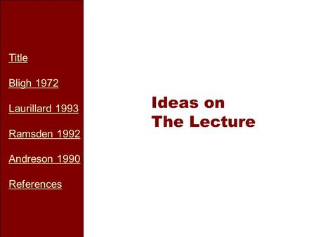 Title Bligh 1972 Laurillard 1993 Ramsden 1992 Andreson 1990 References Ideas on The Lecture.