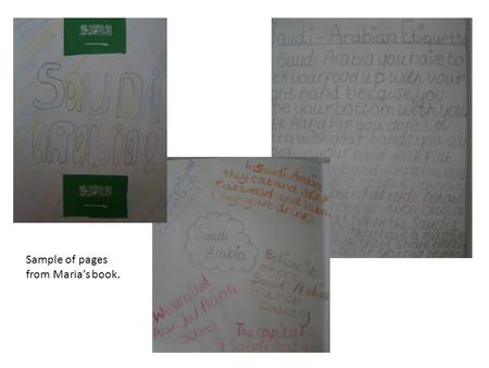 Sample of pages from Marias book.. The children are used to this style of marking and know that they are expected to show what they have learned. Rather.