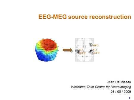 1 Jean Daunizeau Wellcome Trust Centre for Neuroimaging 08 / 05 / 2009 EEG-MEG source reconstruction rIFG rSTG rA1 lSTG lA1.