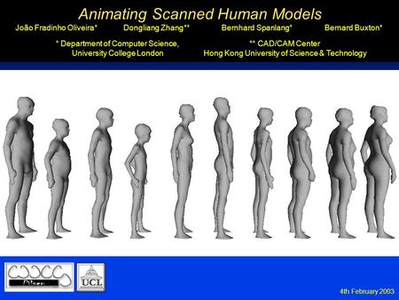 4th February 2003 Animating Scanned Human Models João Fradinho Oliveira* Animating Scanned Human Models Dongliang Zhang** Bernard Buxton* Bernhard Spanlang*