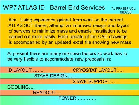 WP7 ATLAS ID Barrel End Services T.J.FRASER UCL Aim: Using experience gained from work on the current ATLAS SCT Barrel, attempt an improved design and.