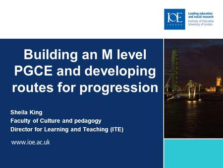 Building an M level PGCE and developing routes for progression Sheila King Faculty of Culture and pedagogy Director for Learning and Teaching (ITE)