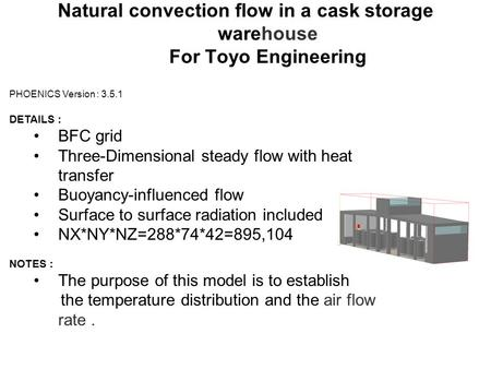 Natural convection flow in a cask storage warehouse For Toyo Engineering PHOENICS Version : 3.5.1 DETAILS : BFC grid Three-Dimensional steady flow with.