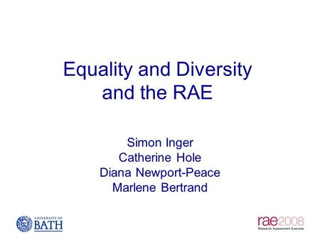 Equality and Diversity and the RAE