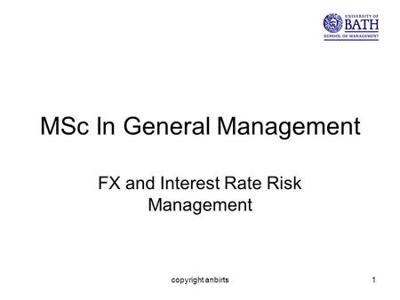 Copyright anbirts1 MSc In General Management FX and Interest Rate Risk Management.