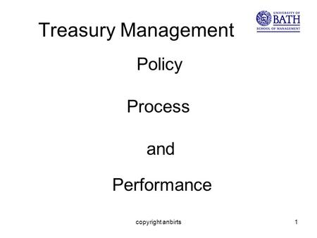 Copyright anbirts1 Treasury Management Policy Process and Performance.