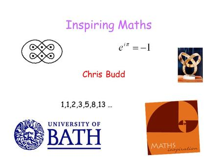 Inspiring Maths Chris Budd 1,1,2,3,5,8,13 …. What are we really trying to achieve in a maths lesson To communicate some real mathematics and developing.