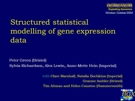 Structured statistical modelling of gene expression data Peter Green (Bristol) Sylvia Richardson, Alex Lewin, Anne-Mette Hein (Imperial) with Clare Marshall,