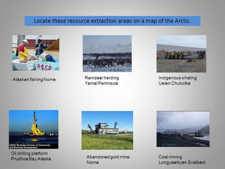 Locate these resource extraction areas on a map of the Arctic. Alaskan fishing Nome Reindeer herding Yamal Peninsula Indigenous whaling Uelen Chukotka.