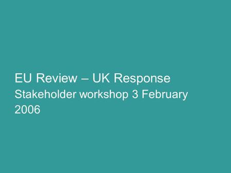 Stakeholder workshop 3 February 2006 EU Review – UK Response.
