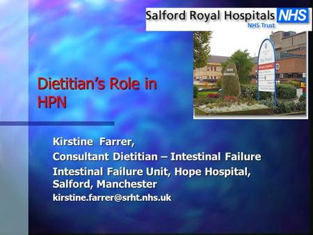 Dietitian's Role in HPN