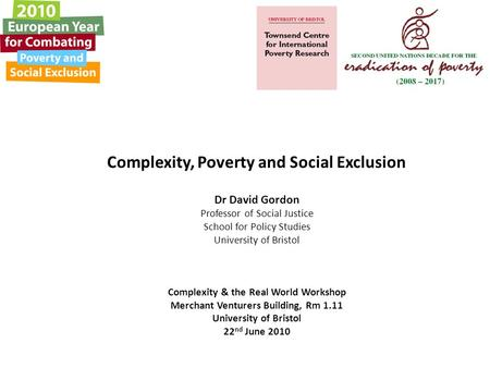 Complexity, Poverty and Social Exclusion