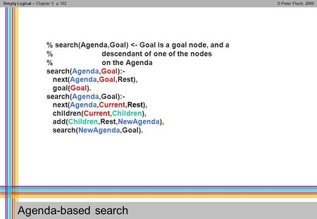 Simply Logical – Chapter 5© Peter Flach, 2000 Agenda-based search % search(Agenda,Goal) <- Goal is a goal node, and a % descendant of one of the nodes.
