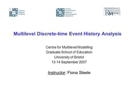 Multilevel Discrete-time Event History Analysis Centre for Multilevel Modelling Graduate School of Education University of Bristol 13-14 September 2007.