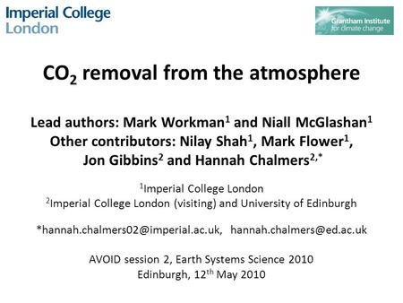 CO 2 removal from the atmosphere Lead authors: Mark Workman 1 and Niall McGlashan 1 Other contributors: Nilay Shah 1, Mark Flower 1, Jon Gibbins 2 and.