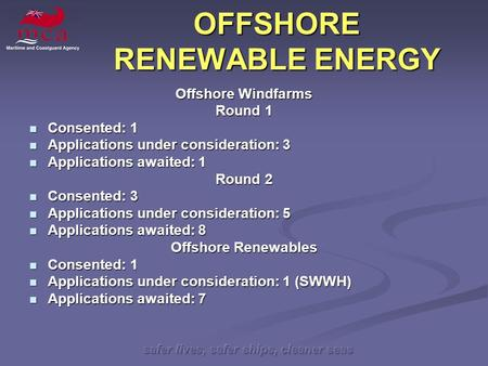 Safer lives, safer ships, cleaner seas OFFSHORE RENEWABLE ENERGY Offshore Windfarms Round 1 Consented: 1 Consented: 1 Applications under consideration: