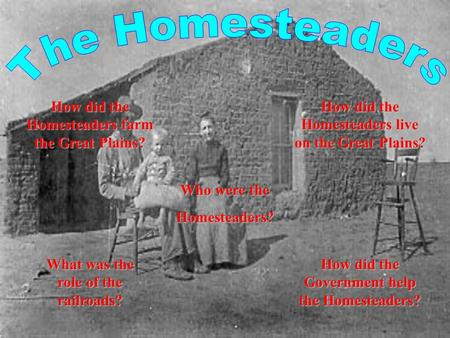 What was the What was the role of the role of the railroads? How did the How did the Government help Government help the Homesteaders? the Homesteaders?